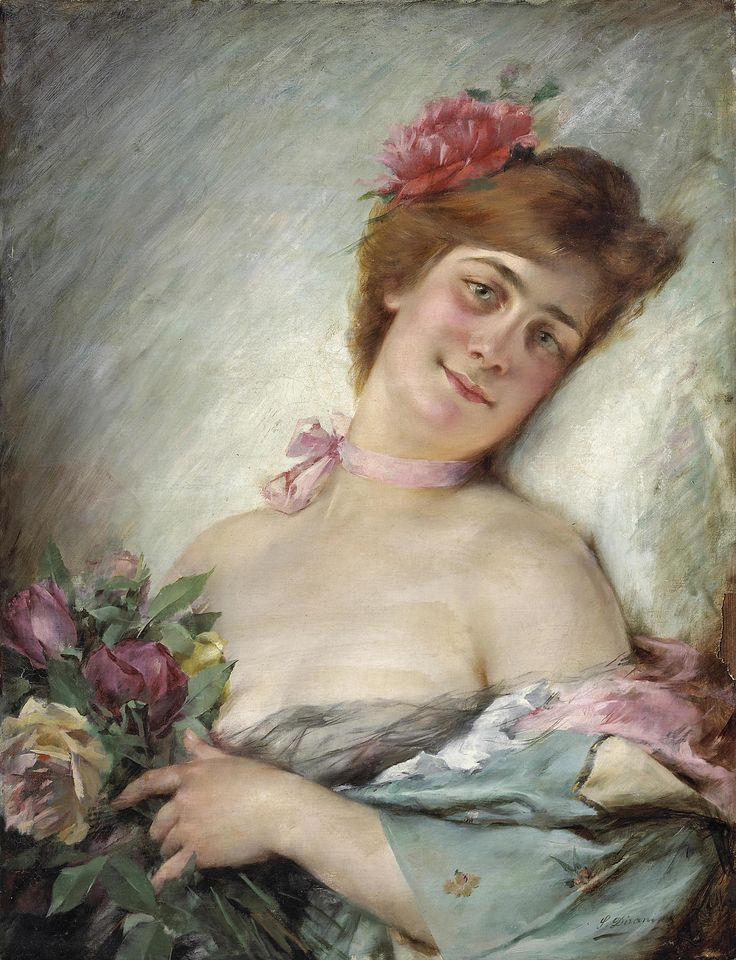 A woman with flowers